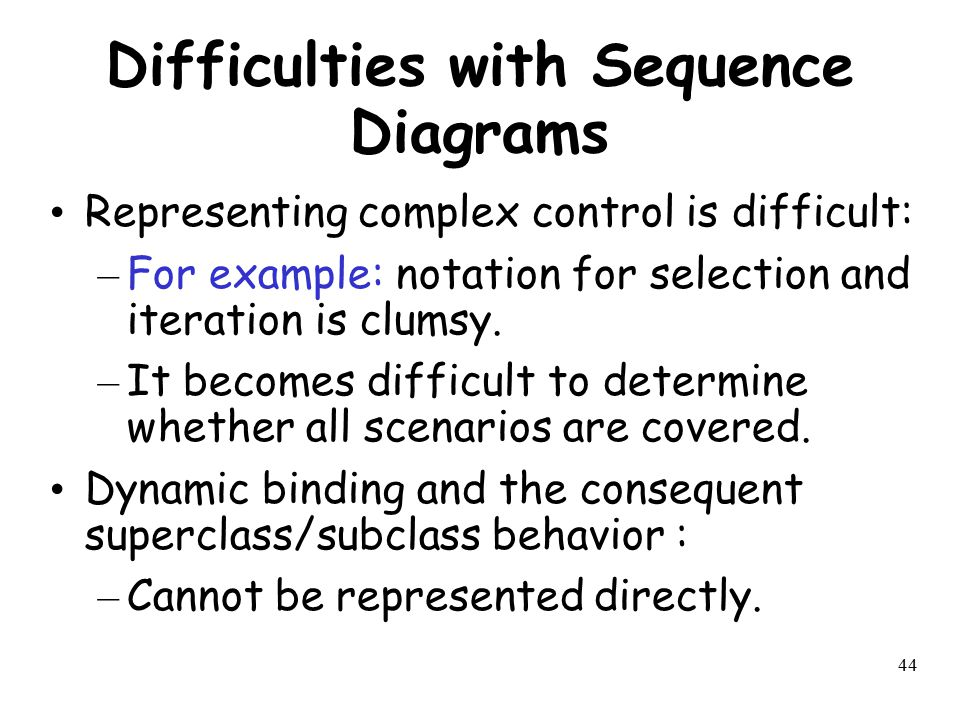 44 Difficulties with Sequence Diagrams Representing complex control is difficult: – For example: notation for selection and iteration is clumsy. – It