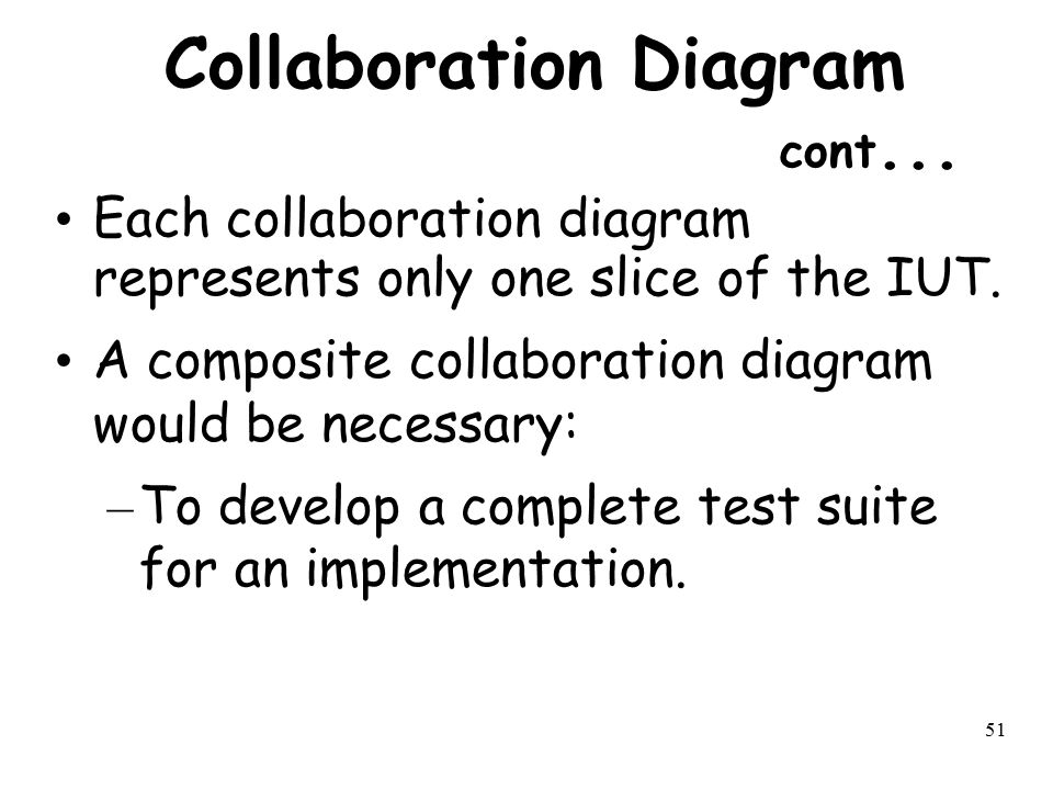 51 Collaboration Diagram cont... Each collaboration diagram represents only one slice of the IUT. A composite collaboration diagram would be necessary