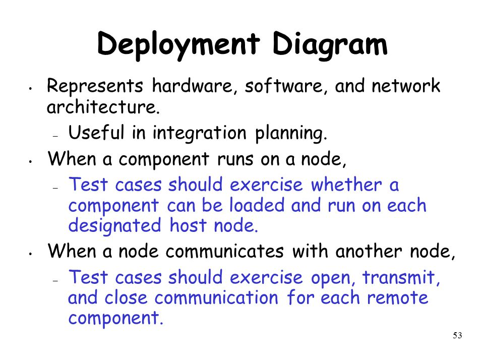 53 Deployment Diagram Represents hardware, software, and network architecture. – Useful in integration planning. When a component runs on a node, – Te