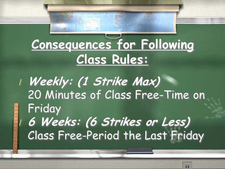 Consequences for Following Class Rules: / Weekly: (1 Strike Max) 20 Minutes of Class Free-Time on Friday / 6 Weeks: (6 Strikes or Less) Class Free-Period the Last Friday / Weekly: (1 Strike Max) 20 Minutes of Class Free-Time on Friday / 6 Weeks: (6 Strikes or Less) Class Free-Period the Last Friday