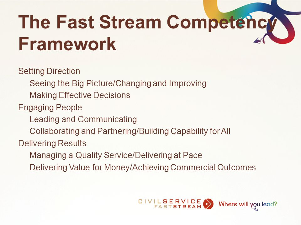 The Fast Stream Model 4 x 6 month jobs Includes a private Sector placement Assessment 2 x 12 month jobs Assessment