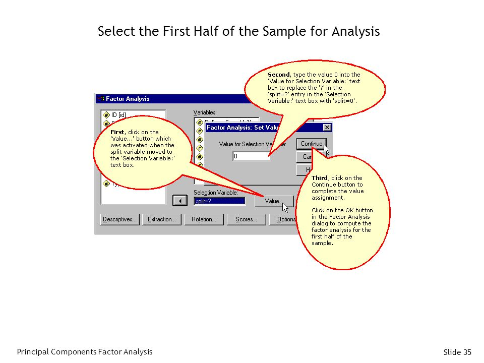 Slide 35 Select the First Half of the Sample for Analysis Principal Components Factor Analysis