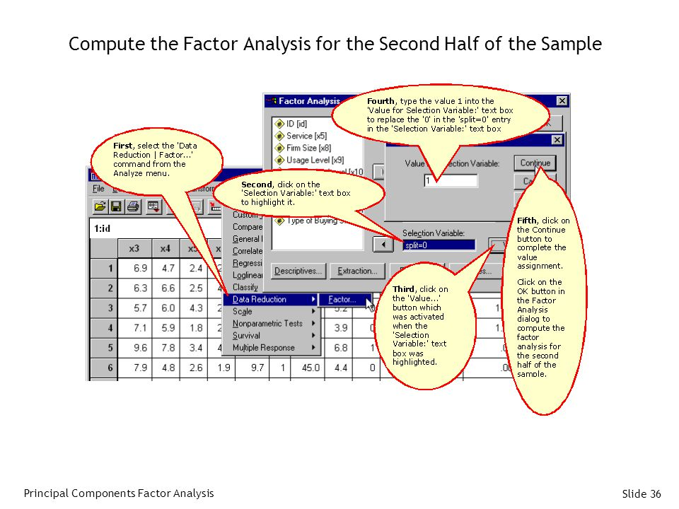 Slide 36 Compute the Factor Analysis for the Second Half of the Sample Principal Components Factor Analysis
