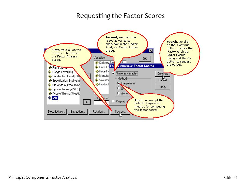 Slide 41 Requesting the Factor Scores Principal Components Factor Analysis