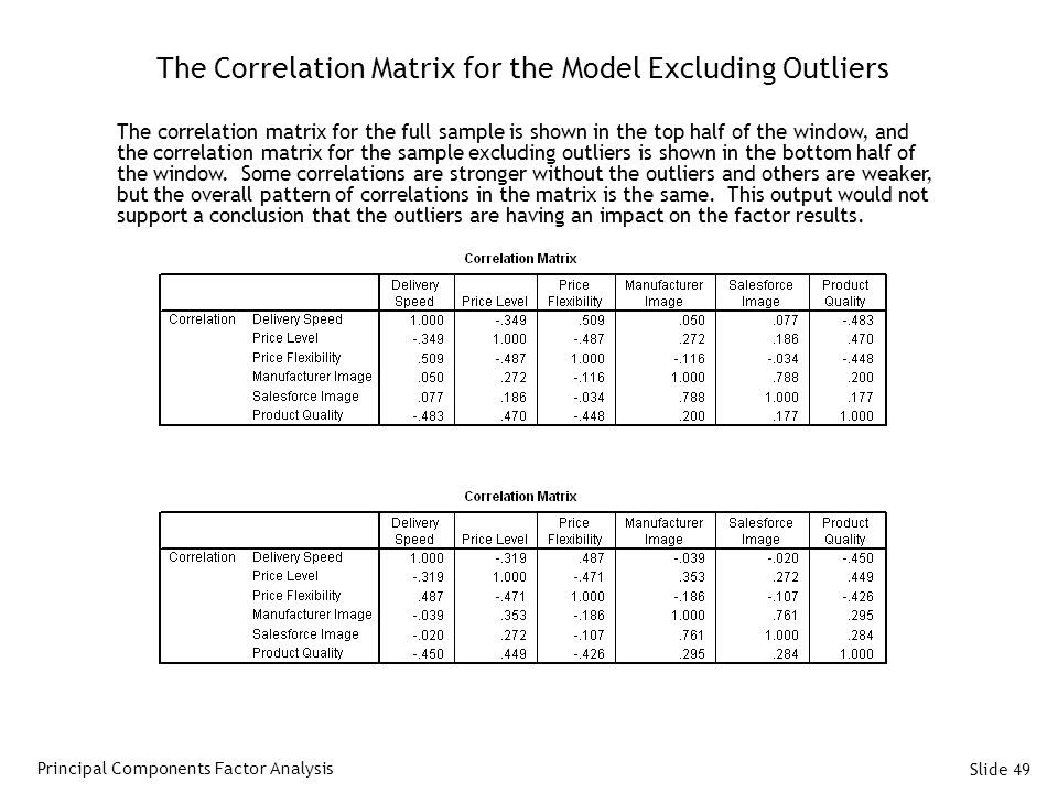 Slide 49 The Correlation Matrix for the Model Excluding Outliers The correlation matrix for the full sample is shown in the top half of the window, and the correlation matrix for the sample excluding outliers is shown in the bottom half of the window.