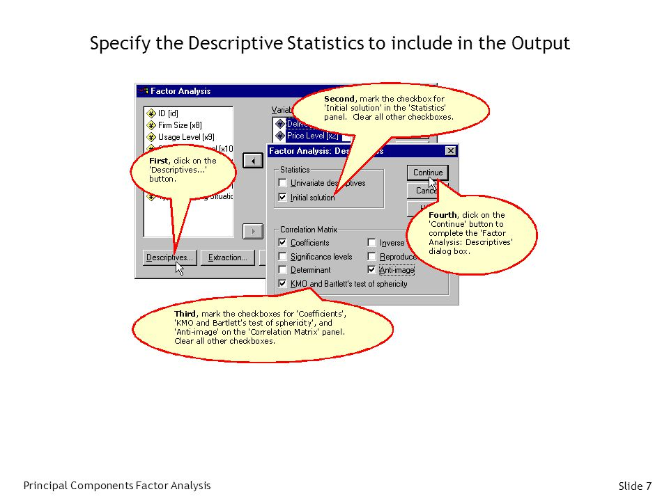 Slide 7 Specify the Descriptive Statistics to include in the Output Principal Components Factor Analysis