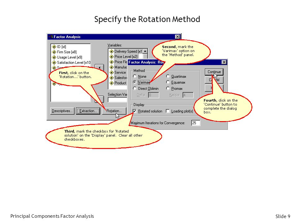 Slide 9 Specify the Rotation Method Principal Components Factor Analysis