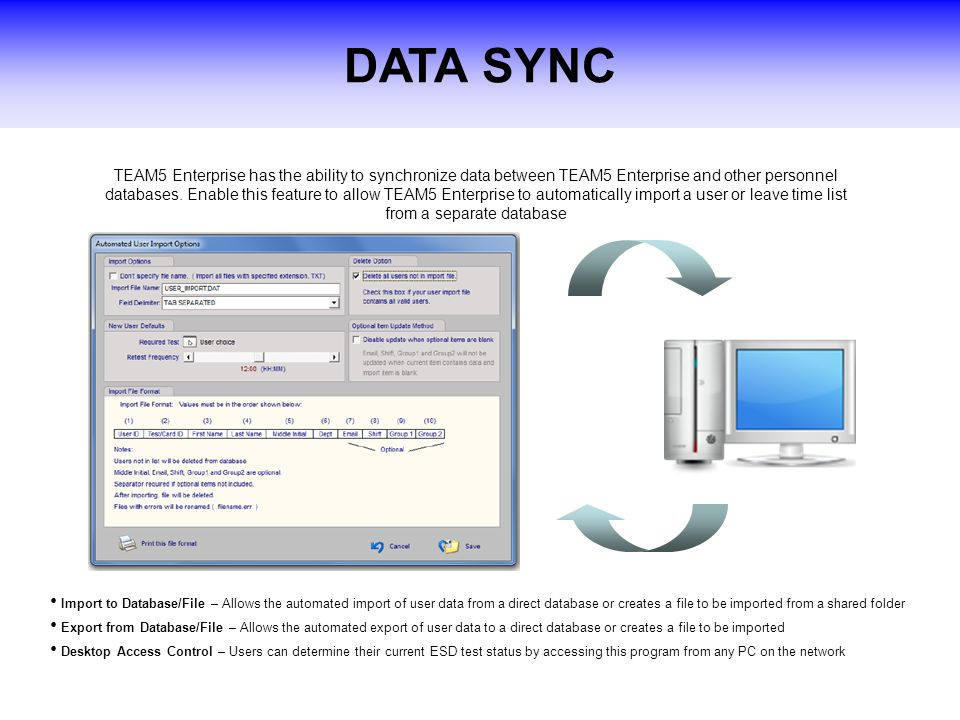 DATA SYNC TEAM5 Enterprise has the ability to synchronize data between TEAM5 Enterprise and other personnel databases.