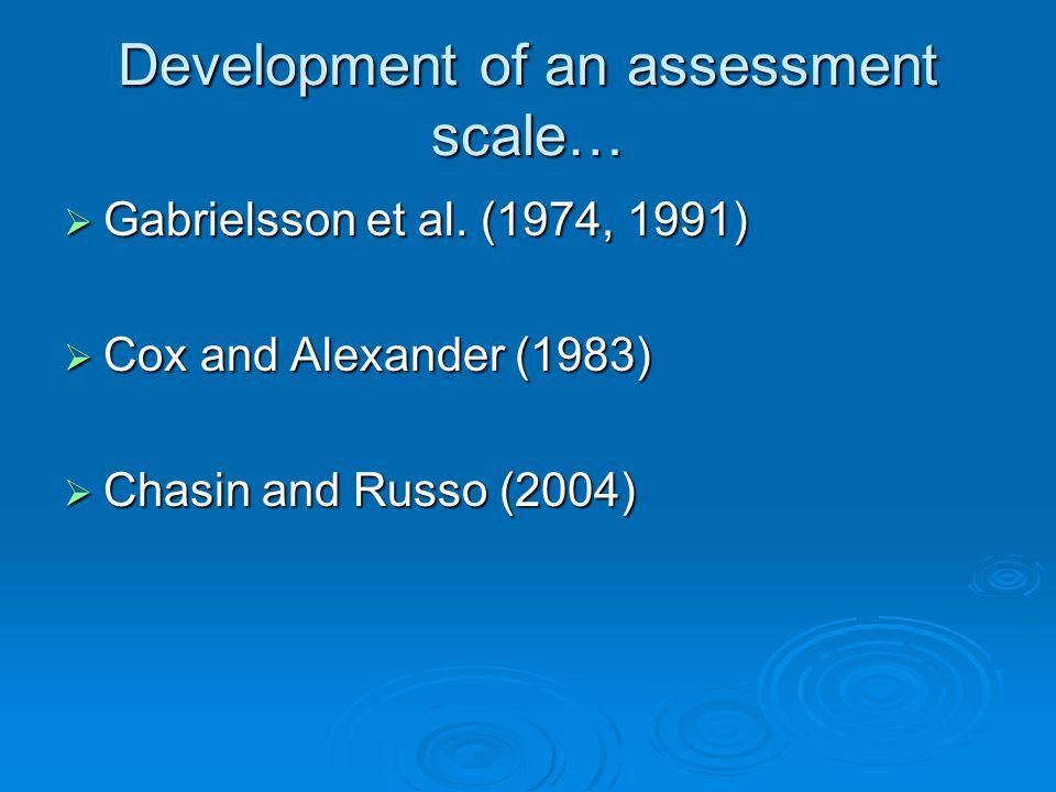 Development of an assessment scale…  Gabrielsson et al.