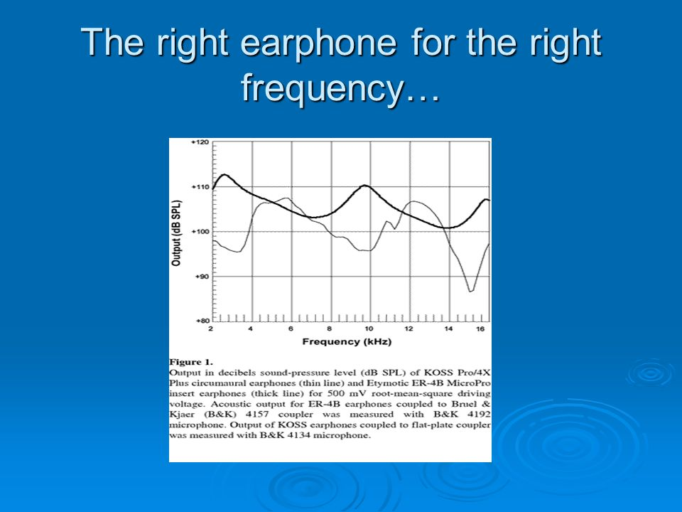 The right earphone for the right frequency…
