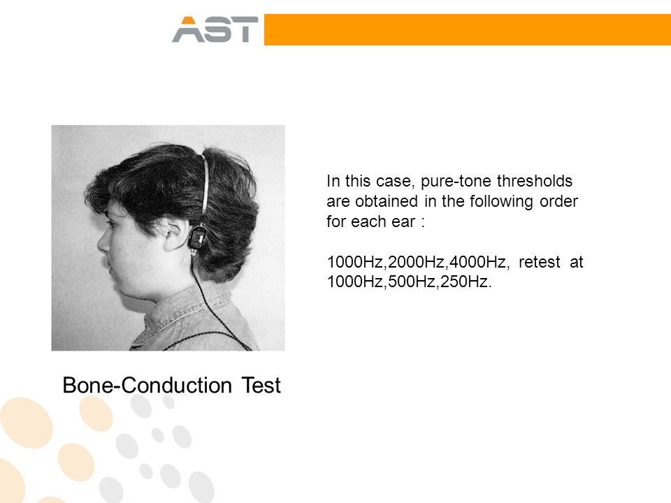 In this case, pure-tone thresholds are obtained in the following order for each ear : 1000Hz,2000Hz,4000Hz, retest at 1000Hz,500Hz,250Hz.