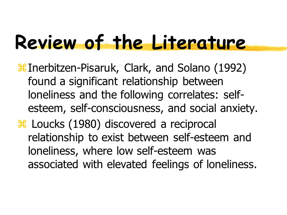 Examination of Loneliness zThe present study examines loneliness and its relationships with variables including self-esteem, gender, grade-point average, self-consciousness, and social anxiety.