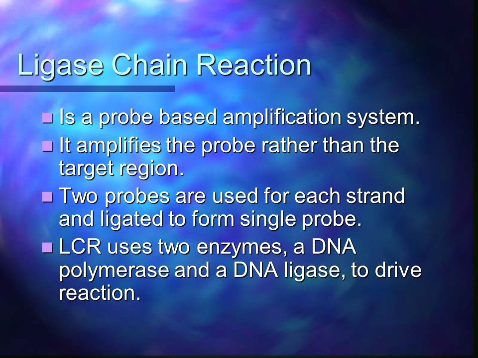 Ligase Chain Reaction Is a probe based amplification system.
