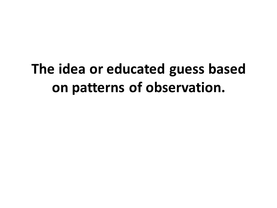 The idea or educated guess based on patterns of observation.