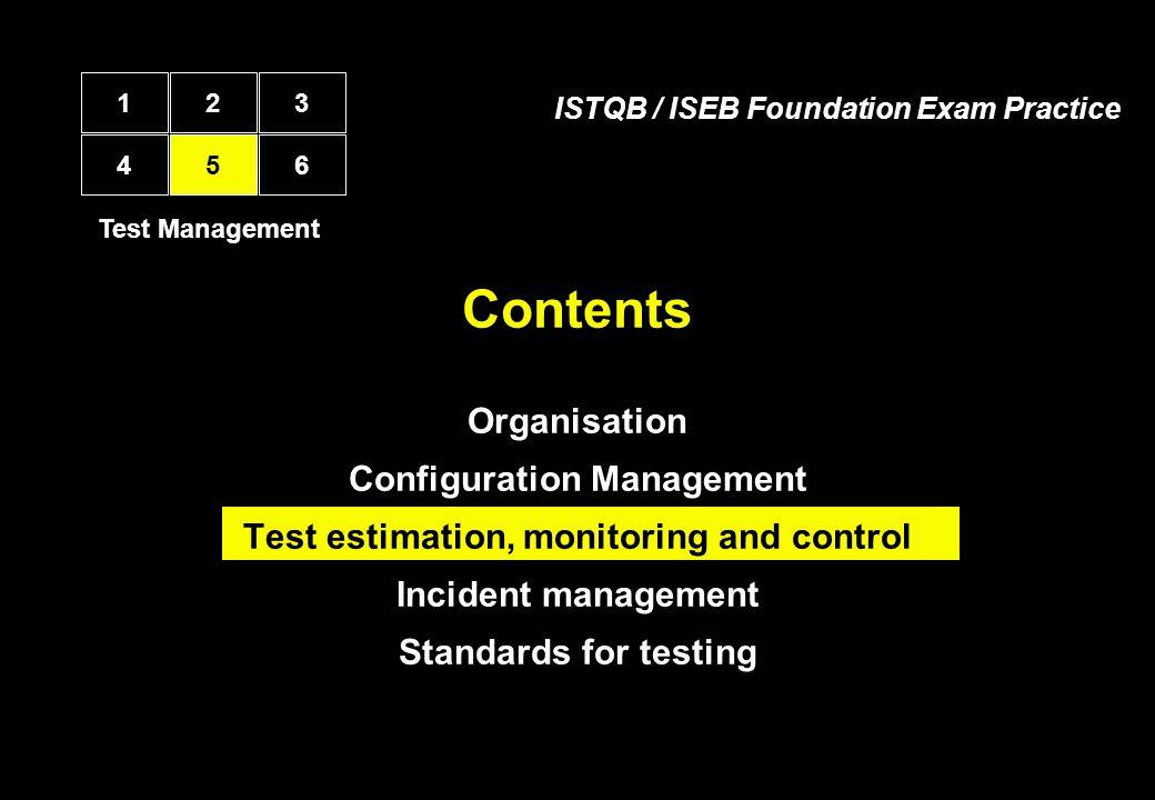 Contents Organisation Configuration Management Test estimation, monitoring and control Incident management Standards for testing Test Management 12 45 3 6 ISTQB / ISEB Foundation Exam Practice