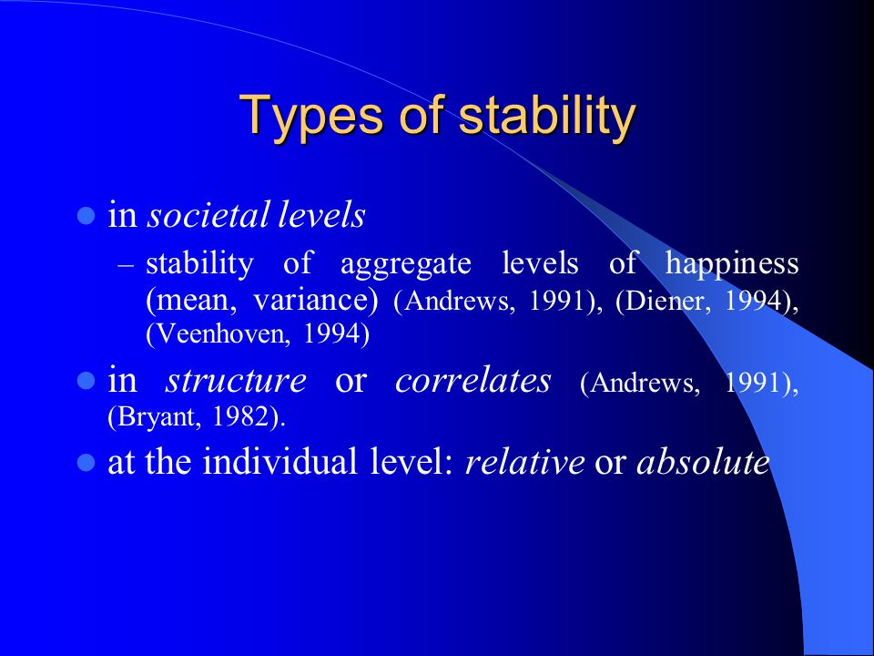 Types of stability in societal levels – stability of aggregate levels of happiness (mean, variance) (Andrews, 1991), (Diener, 1994), (Veenhoven, 1994) in structure or correlates (Andrews, 1991), (Bryant, 1982).