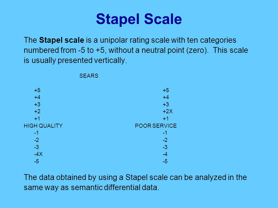 Stapel Scale The Stapel scale is a unipolar rating scale with ten categories numbered from -5 to +5, without a neutral point (zero).