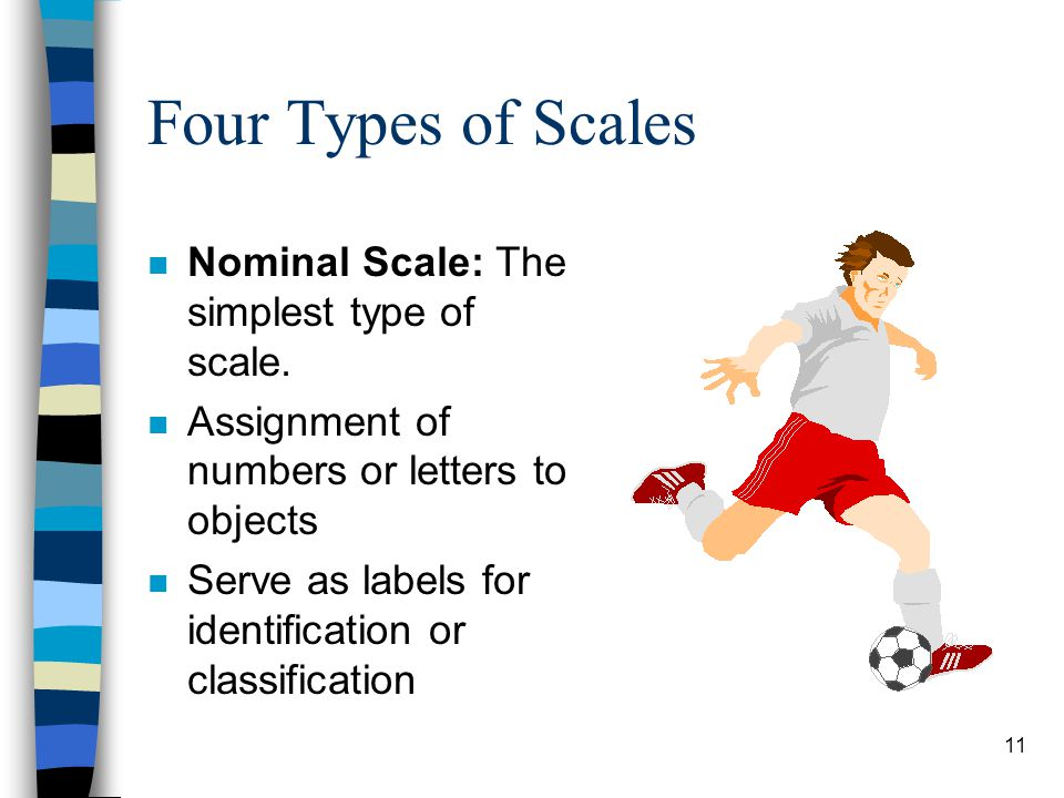 11 Four Types of Scales n Nominal Scale: The simplest type of scale. n Assignment of numbers or letters to objects n Serve as labels for identificatio