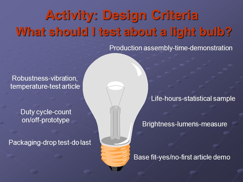 Activity: Design Criteria What should I test about a light bulb? Base fit-yes/no-first article demo Brightness-lumens-measure Life-hours-statistical s