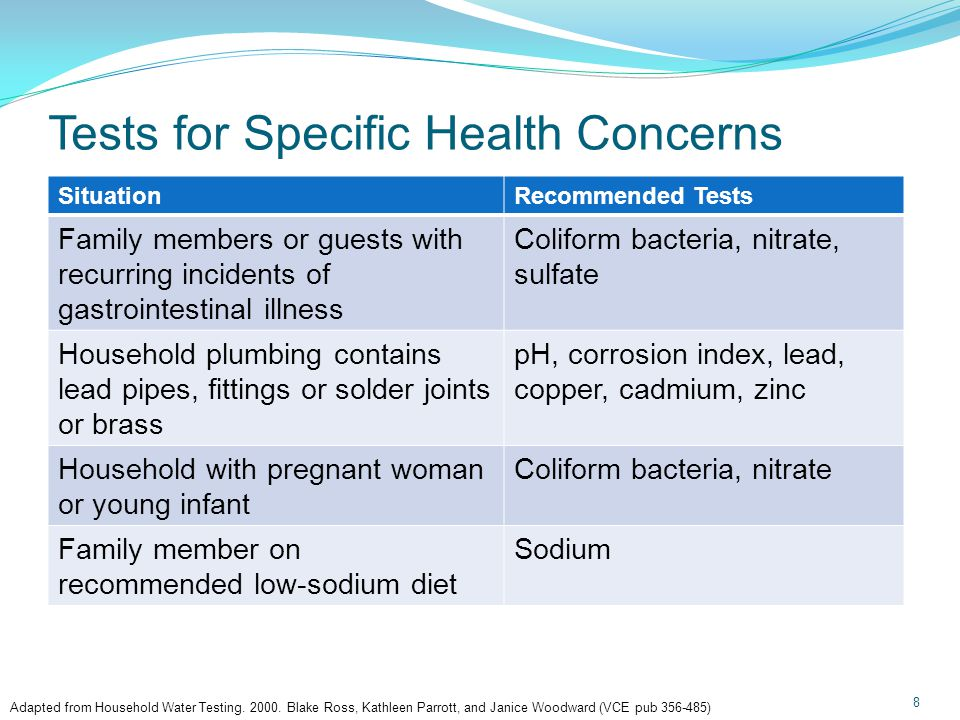 Tests for Specific Health Concerns 8 SituationRecommended Tests Family members or guests with recurring incidents of gastrointestinal illness Coliform bacteria, nitrate, sulfate Household plumbing contains lead pipes, fittings or solder joints or brass pH, corrosion index, lead, copper, cadmium, zinc Household with pregnant woman or young infant Coliform bacteria, nitrate Family member on recommended low-sodium diet Sodium Adapted from Household Water Testing.