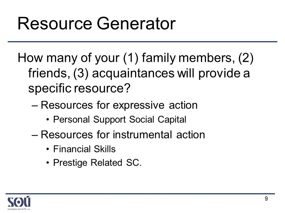 9 Resource Generator How many of your (1) family members, (2) friends, (3) acquaintances will provide a specific resource.