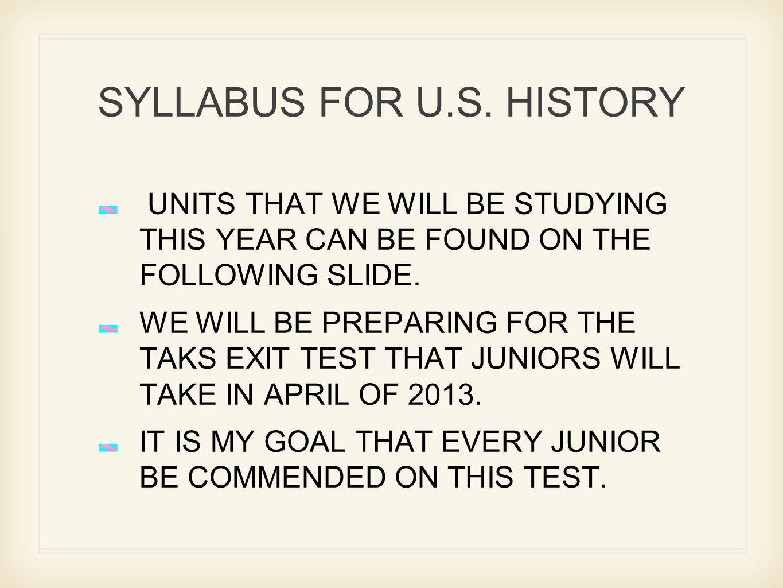 SYLLABUS FOR U.S.