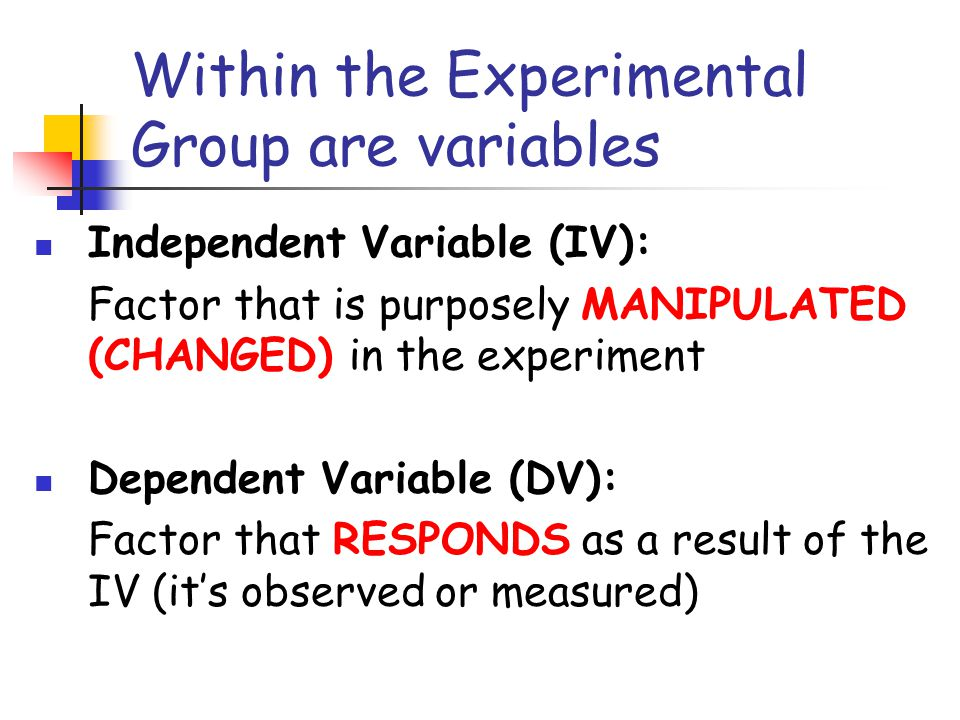 Within the Experimental Group are variables Independent Variable (IV): Factor that is purposely MANIPULATED (CHANGED) in the experiment Dependent Variable (DV): Factor that RESPONDS as a result of the IV (it's observed or measured)