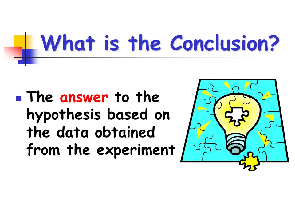 What is the Conclusion? The answer to the hypothesis based on the data obtained from the experiment