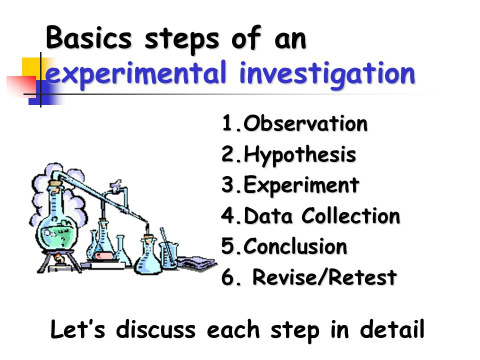 Basics steps of an experimental investigation 1.Observation2.Hypothesis3.Experiment 4.Data Collection 5.Conclusion 6.