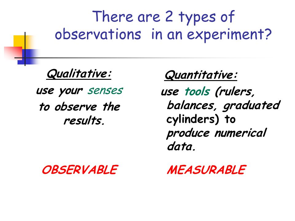 There are 2 types of observations in an experiment? Qualitative: use your senses to observe the results. OBSERVABLE Quantitative: use tools (rulers, b