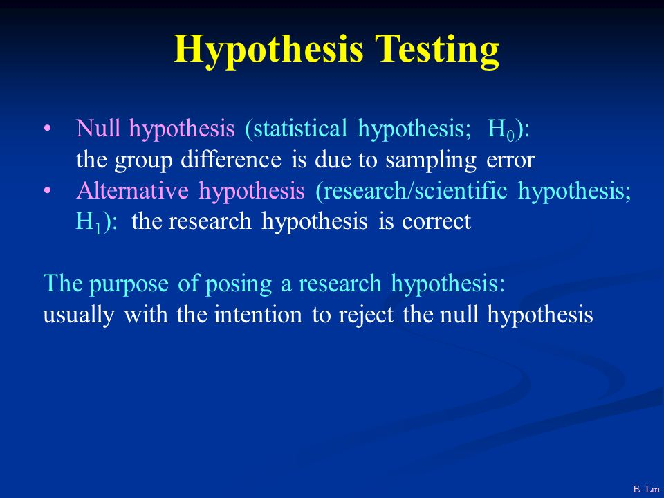 Hypothesis Testing Null hypothesis (statistical hypothesis; H 0 ): the group difference is due to sampling error Alternative hypothesis (research/scientific hypothesis; H 1 ): the research hypothesis is correct The purpose of posing a research hypothesis: usually with the intention to reject the null hypothesis E.