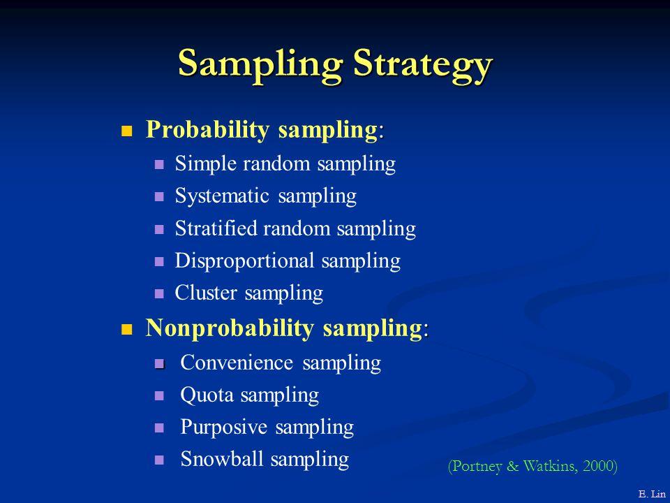 Sampling Strategy : Probability sampling: Simple random sampling Systematic sampling Stratified random sampling Disproportional sampling Cluster sampling : Nonprobability sampling: Convenience sampling Quota sampling Purposive sampling Snowball sampling E.