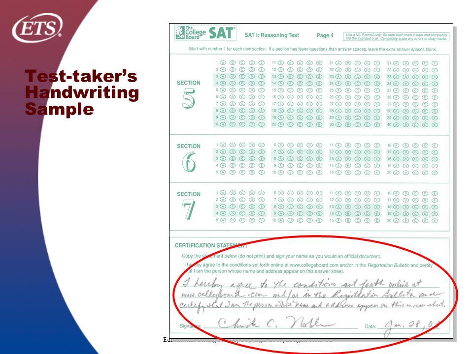 Educational Testing Service, Copyright 2005, all rights reserved Test-taker's Handwriting Sample