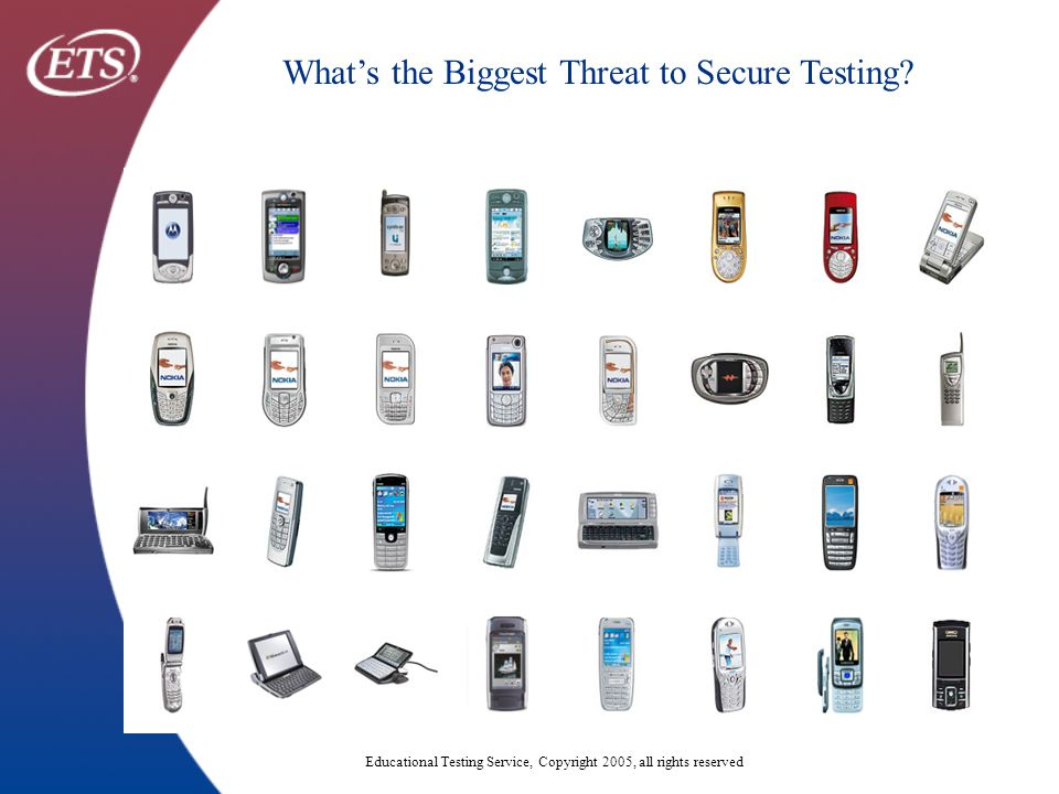 Educational Testing Service, Copyright 2005, all rights reserved What's the Biggest Threat to Secure Testing