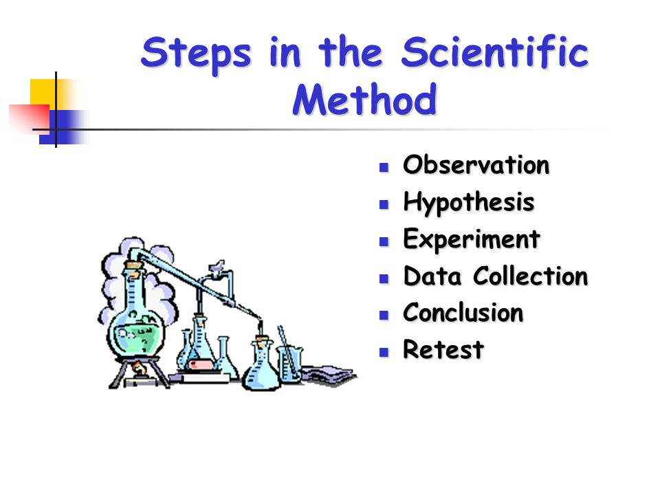 Steps in the Scientific Method Observation Observation Hypothesis Hypothesis Experiment Experiment Data Collection Data Collection Conclusion Conclusi