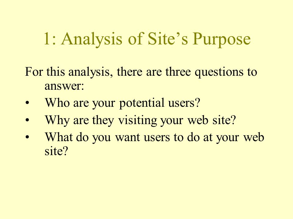 1: Analysis of Site's Purpose For this analysis, there are three questions to answer: Who are your potential users.