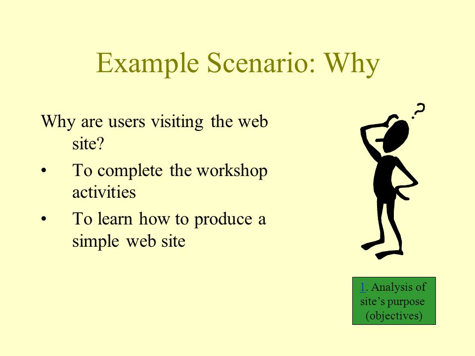 Example Scenario: Why Why are users visiting the web site? To complete the workshop activities To learn how to produce a simple web site 11. Analysis