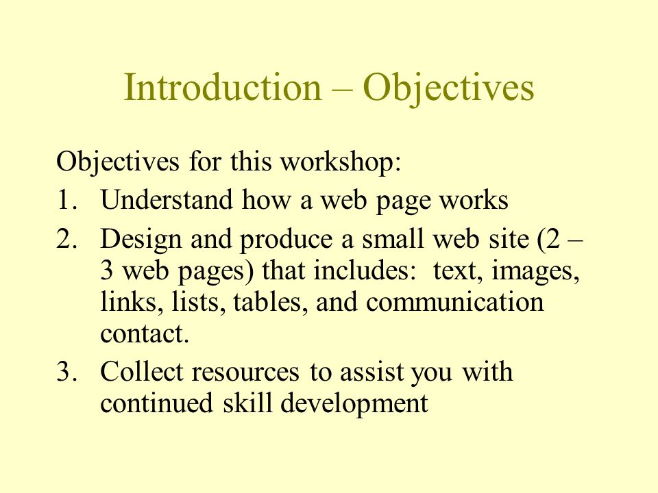Introduction – Participants Survey of Participants Purpose: to assist us in addressing your needs so we can start the hands-on activities at the level of your present needs and skills.