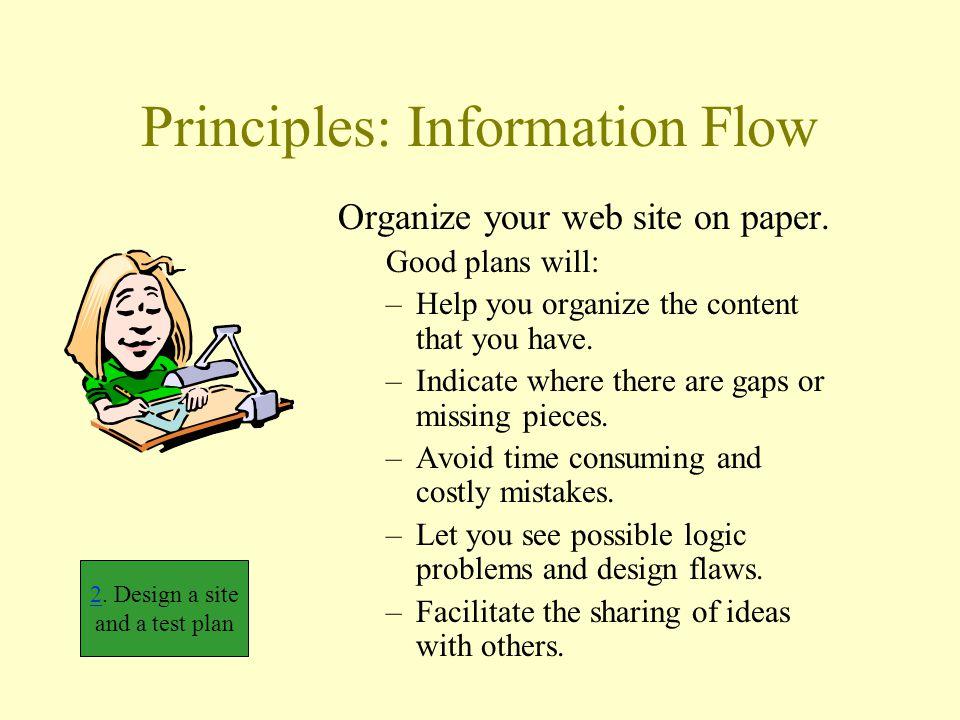 Principles: Information Flow Organize your web site on paper.