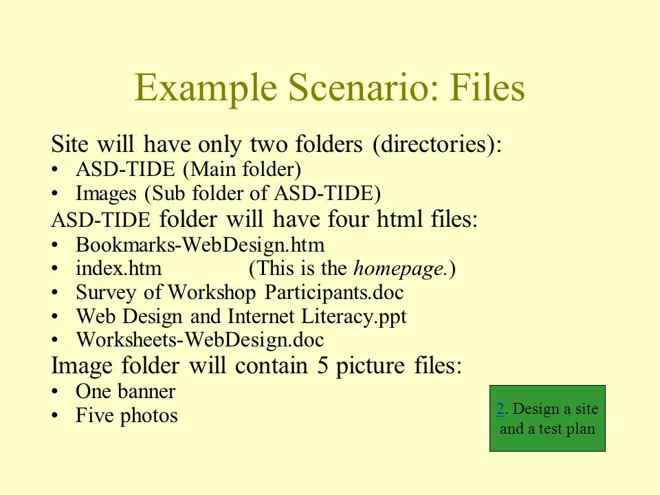 Example Scenario: Files Site will have only two folders (directories): ASD-TIDE (Main folder) Images (Sub folder of ASD-TIDE) ASD-TIDE folder will have four html files: Bookmarks-WebDesign.htm index.htm (This is the homepage.) Survey of Workshop Participants.doc Web Design and Internet Literacy.ppt Worksheets-WebDesign.doc Image folder will contain 5 picture files: One banner Five photos 22.