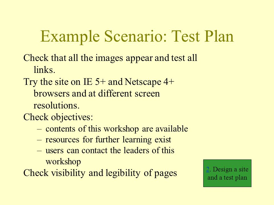 Example Scenario: Test Plan Check that all the images appear and test all links.