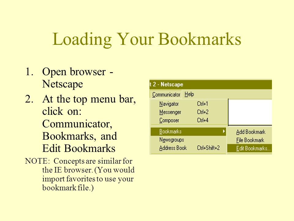 Loading Your Bookmarks 1.Open browser - Netscape 2.At the top menu bar, click on: Communicator, Bookmarks, and Edit Bookmarks NOTE: Concepts are similar for the IE browser.