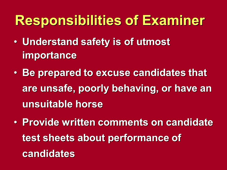 Responsibilities of Examiner Understand safety is of utmost importanceUnderstand safety is of utmost importance Be prepared to excuse candidates that
