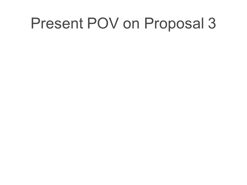 Present POV on Proposal 3