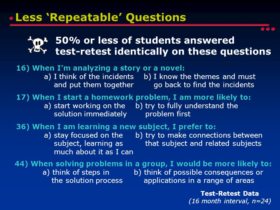 Less 'Repeatable' Questions Test-Retest Data (16 month interval, n=24) 50% or less of students answered test-retest identically on these questions 17) When I start a homework problem, I am more likely to: a) start working on the b) try to fully understand the solution immediately problem first 36) When I am learning a new subject, I prefer to: a) stay focused on the b) try to make connections between subject, learning as that subject and related subjects much about it as I can 44) When solving problems in a group, I would be more likely to: a) think of steps in b) think of possible consequences or the solution process applications in a range of areas 16) When I'm analyzing a story or a novel: a) I think of the incidents b) I know the themes and must and put them together go back to find the incidents