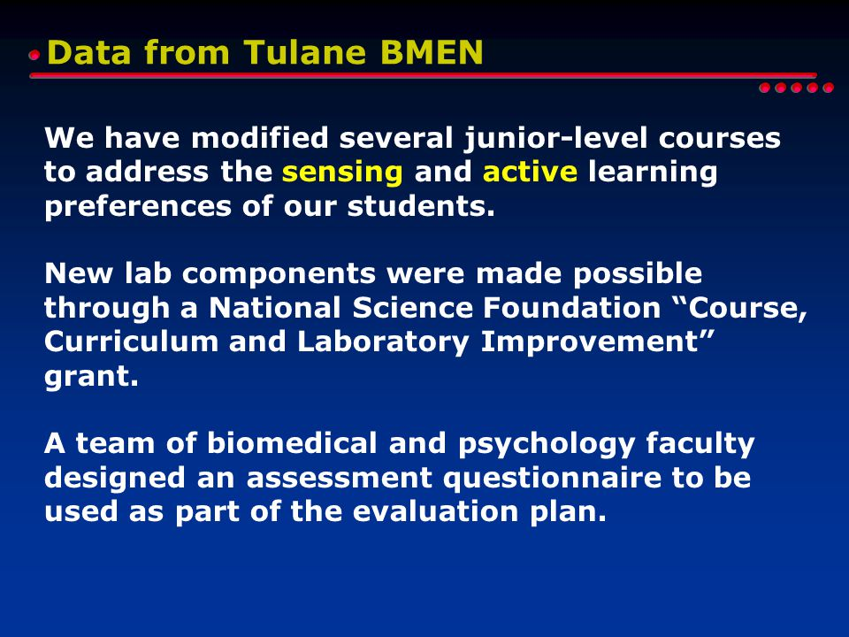 Data from Tulane BMEN We have modified several junior-level courses to address the sensing and active learning preferences of our students.