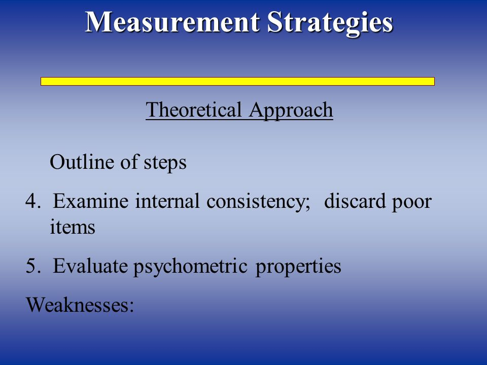 Measurement Strategies Theoretical Approach Outline of steps 4.