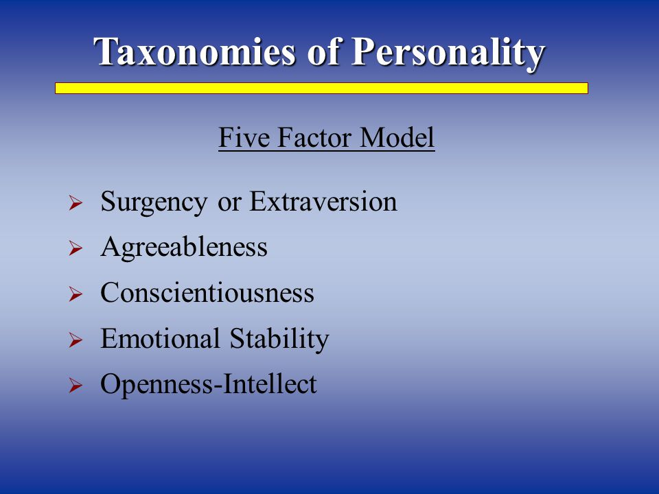 Taxonomies of Personality Five Factor Model  Surgency or Extraversion  Agreeableness  Conscientiousness  Emotional Stability  Openness-Intellect
