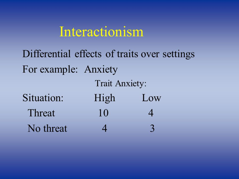 Differential effects of traits over settings For example: Anxiety Trait Anxiety: Situation:HighLow Threat 10 4 No threat 4 3