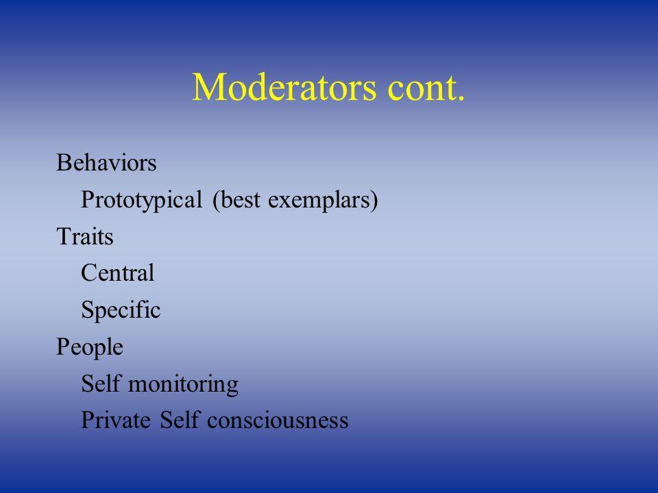 Moderators cont.